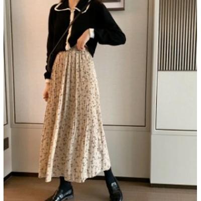 韓国 ファッション レディース プリーツスカート 花柄 ロング 消しプリーツ ハイウエスト フレア ウエストゴム 大人可愛い レトロ