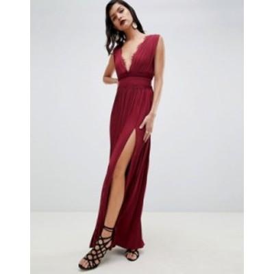 エイソス レディース ワンピース トップス ASOS DESIGN PREMIUM Lace Insert Pleated Maxi Dress Oxblood