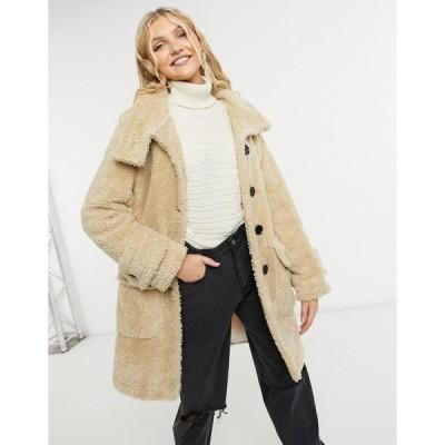 リクオリッシュ レディース コート アウター Liquorish midi teddy coat with buttons in beige Beige