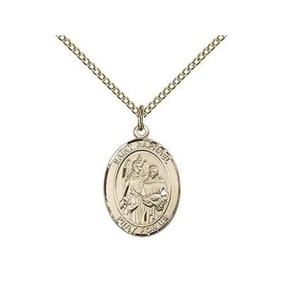 """【新品】14カラットゴールドFilled St Raphael The Archangelペンダントwith 18""""ゴールドFilled Lite縁石チェー"""