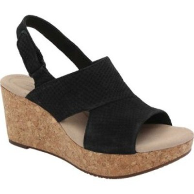 クラークス Clarks レディース サンダル・ミュール ウェッジソール シューズ・靴 Annadel Sky Wedge Sandal Black Interest Nubuck