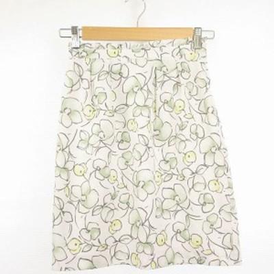 【中古】アプワイザーリッシェ Apuweiser-riche スカート ミニ リボン 花柄 白 緑 0 *A416 レディース