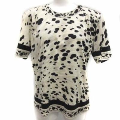 【中古】レオナール LEONARD L Tシャツ カットソー 総柄 半袖 黒 ブラック アイボリー /EK レディース
