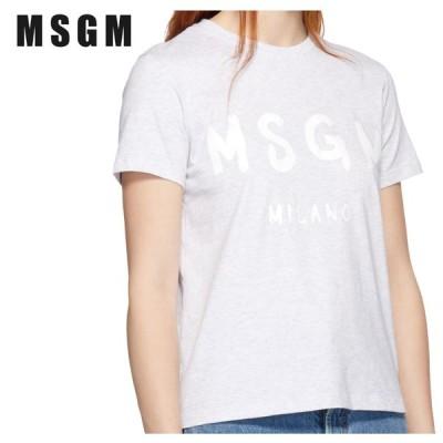 MSGM エムエスジーエム グレー Milano ロゴ T シャツ 191443F110004