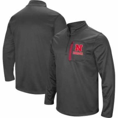 Stadium Athletic スタジアム アスレティック スポーツ用品  Colosseum Nebraska Cornhuskers Charcoal Fleece Quarter-Zip Pullover Jac