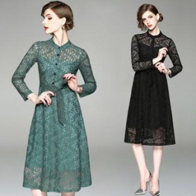 ワンピース ドレス 春 2カラー 長袖 前ボタン 上品 エレガント 可愛い おしゃれ 大人 レディース 結婚式 fe-2565