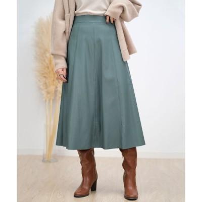 スカート エコレザーフレアスカート