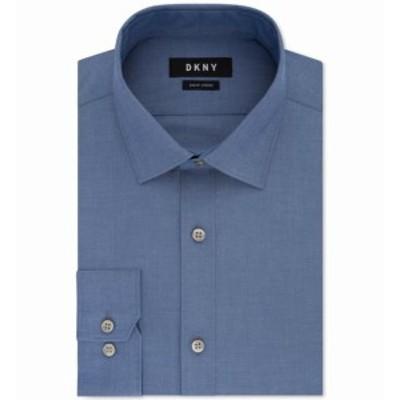 DKNY ダナキャランニューヨーク ファッション ドレス DKNY NEW Smokey Blue Mens Size 15 Slim Fit Stretch Woven Dress Shirt