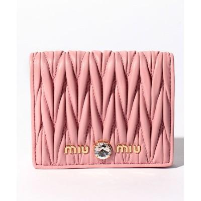 【ミュウミュウ】 2つ折り財布/マテラッセ クリスタル レディース ピンク F MIUMIU