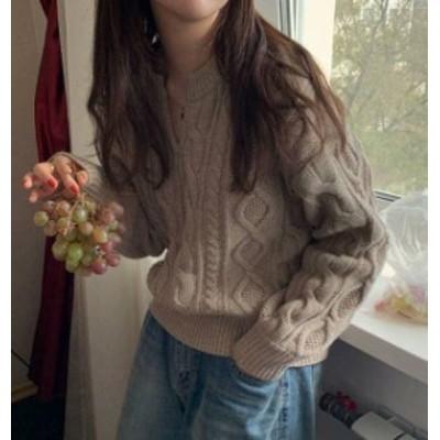 2色 キーネック ニット トップス ケーブル編み 長袖 ゆったり カジュアル 秋冬 韓国 オルチャン ファッション