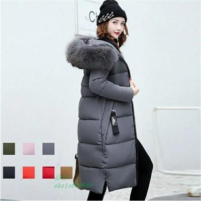 中綿ダウンコート ロング丈 軽い 秋冬 中綿ジャケット 中綿コート フード付き ダウン風コート アウター
