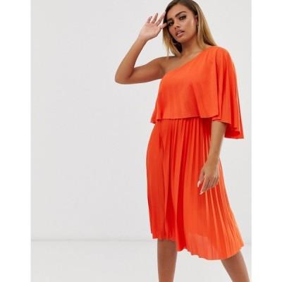エイソス ASOS Petite レディース ワンピース ワンピース・ドレス one shoulder pleated crop top midi dress Orange
