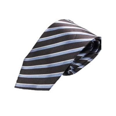 ストライプ・レジメンシリーズ シルク100%ネクタイ ジャガード織 グレー×ターコイズ