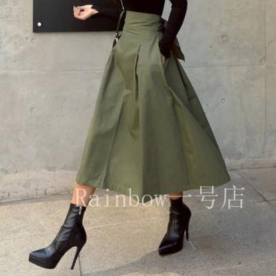 ロングスカート レディース フレアスカート ウエストマーク バックリボン カーキ 春 秋 夏 韓国ファッション