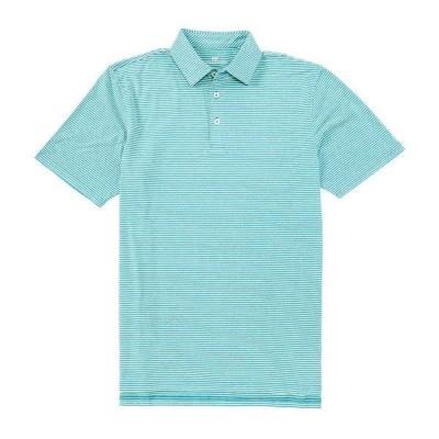 サウザーンタイド メンズ ポロシャツ トップス Ryder Montefuma Stripe Performance Stretch Short-Sleeve Polo Shirt Heather Parrotfish