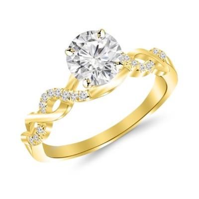 0.46 Carat Twisting Infinity Gold and Diamond Split Shank Pave Set Dia