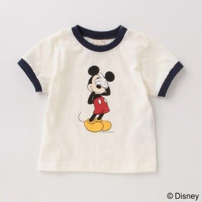 プティマイン(petit main)【DISNEY】ミッキーマウスデザイン リンガーTシャツ【O_50】【outlet】【21AWSL】