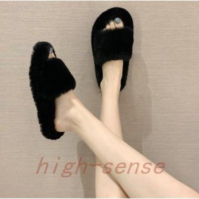 ファーサンダルレディースフラットサンダル厚底歩きやすいサンダルミュールミュールサンダル秋冬ぺたんこ靴sandal快適美脚もこもこ3cm