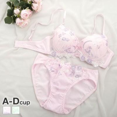 (サンエイ)SANEI ナチュラルシリーズ 綿混 マルチカラーフラワー刺繍 ブラジャー ショーツ セット ABCD