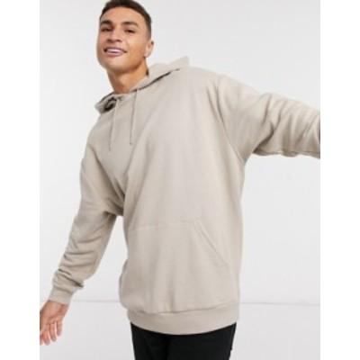 エイソス メンズ パーカー・スウェット アウター ASOS DESIGN oversized longline hoodie in beige Cobblestone