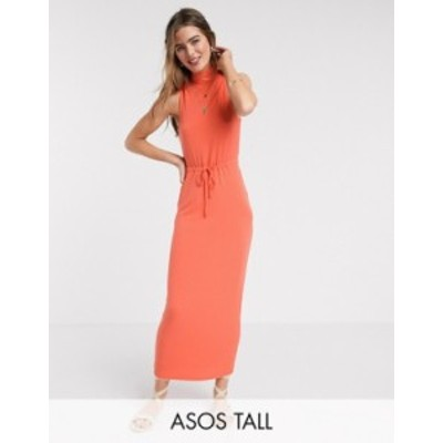 エイソス レディース ワンピース トップス ASOS DESIGN Tall Exclusive high neck ribbed midi dress with drawstring in orange Orange