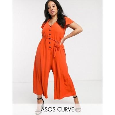 エイソス レディース ワンピース トップス ASOS DESIGN Curve frill sleeve jumpsuit with cut out back