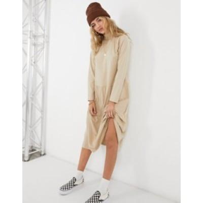 エイソス レディース ワンピース トップス ASOS DESIGN smock midi dress with tiered hem in beige Beige