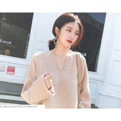 シンプル セーター プルオーバー フリーサイズ レディース(ベージュ) メール便200円