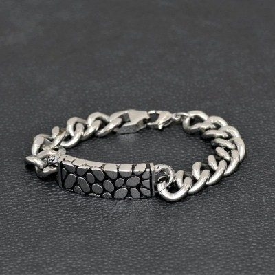 ブレスレット サージカルステンレス ドラゴンの鱗模様のプレートがポイントになったデザインブレスレット 龍 竜 りゅう リュウ|腕輪 レディース メンズ