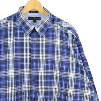 古着 大きいサイズ トミーヒルフィガーゴルフ 長袖ボタンダウンシャツ メンズUS-XLサイズ チェック柄 青 ブルー系 tn-0548n