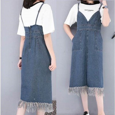 大きいサイズ レディース 裾フリンジ サロペット デニム ワンピース 体型カバー 着痩せ トレンド  送料無料