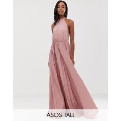 エイソス レディース ワンピース トップス ASOS DESIGN Tall Halter Pleated Waisted Maxi Dress Rose