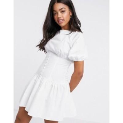 エイソス レディース ワンピース トップス ASOS DESIGN cotton poplin mini dress with button waist and puff sleeves in white White