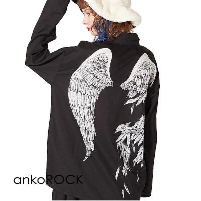 ankoROCK アンコロック シャツ メンズ ブラウス レディース ユニセックス プリント 柄シャツ ビッグシルエット 折れた翼