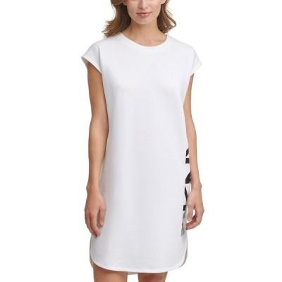 ダナ キャラン ニューヨーク ワンピース トップス レディース Logo-Graphic T-Shirt Dress White