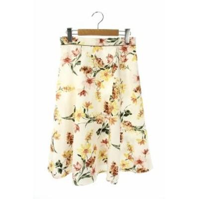 【中古】アプワイザーリッシェ Apuweiser-riche 19AW リリーフラワープリントスカート フレアスカート ひざ丈 2 白
