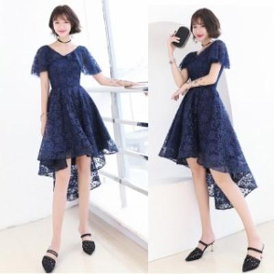 ミニドレス パーティードレス ミニ ドレス ワンピース 袖あり 半袖 花柄 フィッシュテール 透け感 大きいサイズ