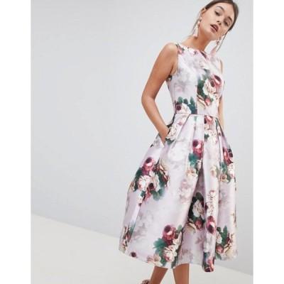 チチロンドン レディース ワンピース トップス Chi Chi London Midi Dress in Floral Print