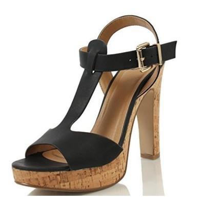 デリシャス レディース パンプス Delicious Women's Donte Faux Leather Open Toe T Strap Cork Platform Heel, Tan, 8 M US