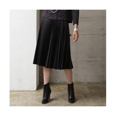 Liliane Burty ECLAT/リリアンビューティ エクラ 合皮 光沢プリーツスカート ブラック S