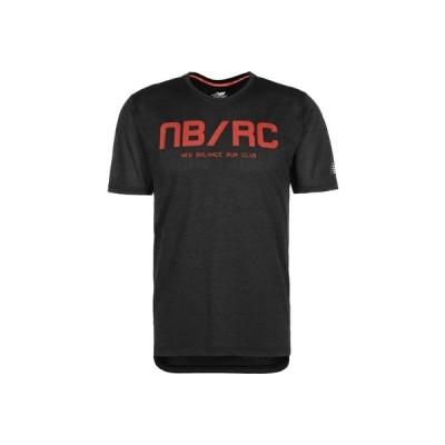 ニューバランス シャツ メンズ トップス NEW BALANCE PRINTED IMPACT LAUFSHIRT HERREN - Print T-shirt - shiny black
