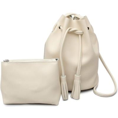 エーエムエス 巾着バッグ ミニポーチ付き レディース ミニショルダーバッグ 丸底 ホワイト