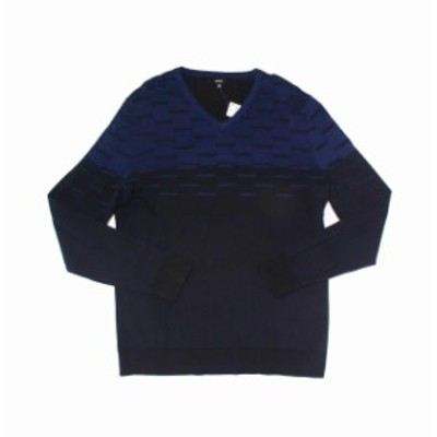 Alfani  ファッション トップス Alfani NEW Blue Mens Size 2XL Colorblock Dash Knit V-Neck Sweater