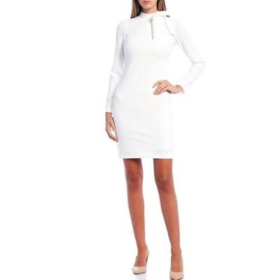 カルバンクライン レディース ワンピース トップス Scuba Crepe Tie Neck Long Sleeve Shift Dress Cream