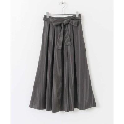 スカート リボン付ストライプスカート∴