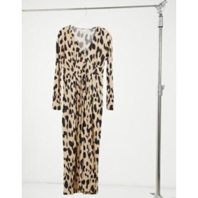 エイソス レディース ワンピース トップス ASOS DESIGN button front tea jumpsuit long sleeve in animal print Animal print