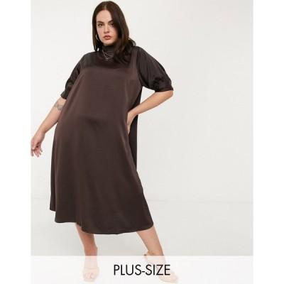 ヴェロモーダ ドレス 大きいサイズ レディース Vero Moda Curve midi satin dress with high neck in chocolate エイソス ASOS