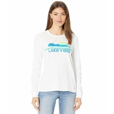 ライフイズグッド シャツ トップス レディース Guitar Lake Vibes Crusher Long Sleeve Tee Cloud White