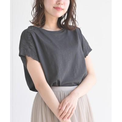 rps / 刺繍入りスラブカットTシャツ WOMEN トップス > Tシャツ/カットソー
