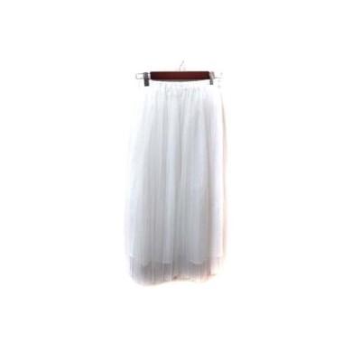 【中古】COTORICA. ロングスカート ギャザー フレア チュール F 白 ホワイト /YI レディース 【ベクトル 古着】